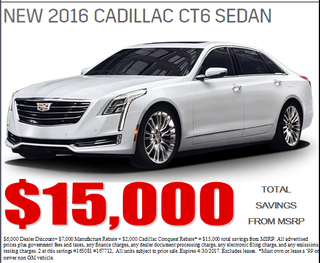 Illustration for article titled A Cadillac dealer in San Diego is still trying to move 2016's CT6's
