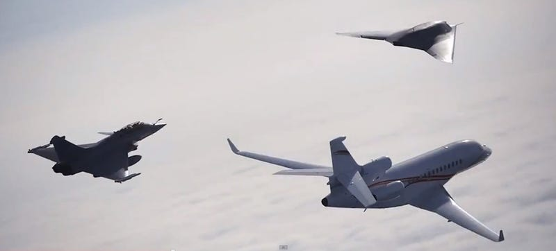 Illustration for article titled Dassault's Diversity: A nEUROn A Falcon And A Rafale Fly Oh My!