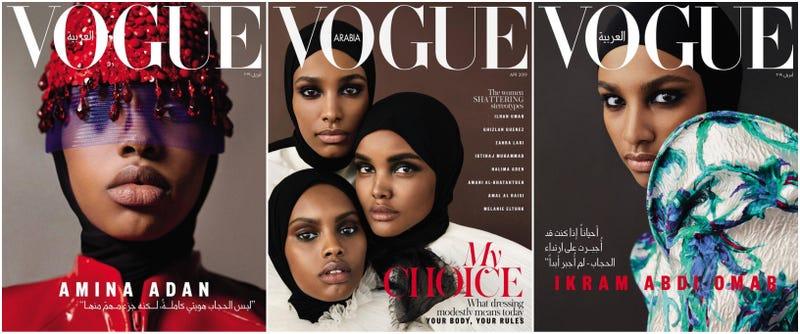 L-R: Amina Adan; (from top) Ikram Abdi Omar, Halima Aden, and Amina Adan; Ikram Abdi Omar
