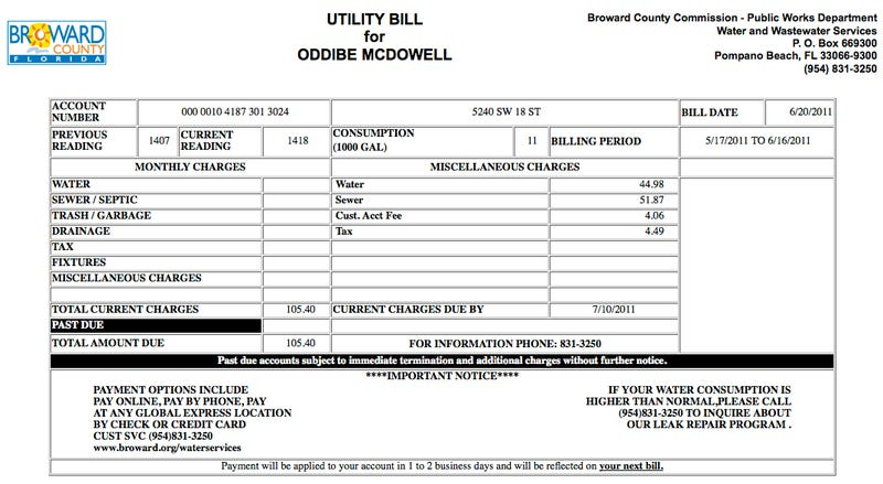 Illustration for article titled Alert: Oddibe McDowell's Water Bill Is $105.40