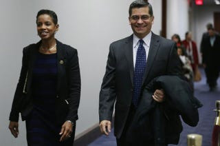 Rep. Donna Edwards (D-Md.) and Rep. Xavier Becerra (D-Calif.) arrive for the first House Democratic Caucus meeting of the 114th Congress in the U.S. Capitol Visitors Center Jan. 7, 2015, in Washington, D.C.Chip Somodevilla/Getty Images