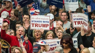 Donald Trump supporters cheer on the Republican presidential candidate before a campaign rally March 7, 2016, in Concord, N.C. The North Carolina Republican presidential primary will be held March 15.Sean Rayford/Getty Images