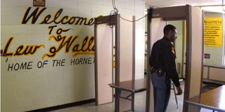Metal detectors at a high school in Gary, Ind. (Getty Images)
