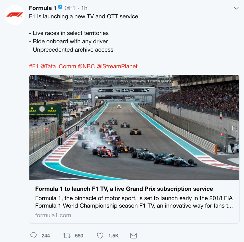 Formula One's Much Awaited Live Stream Is Real And It's Not