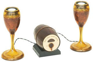 Illustration for article titled Wine Glass Speakers With a Wine Barrel Amp Are For Listening, Not Drinking
