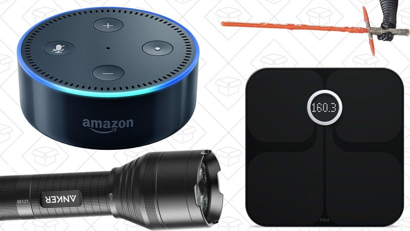 Illustration for article titled Today's Best Deals: Star Wars Gear, $30 Echo Dot, Fitbit Scale, and More