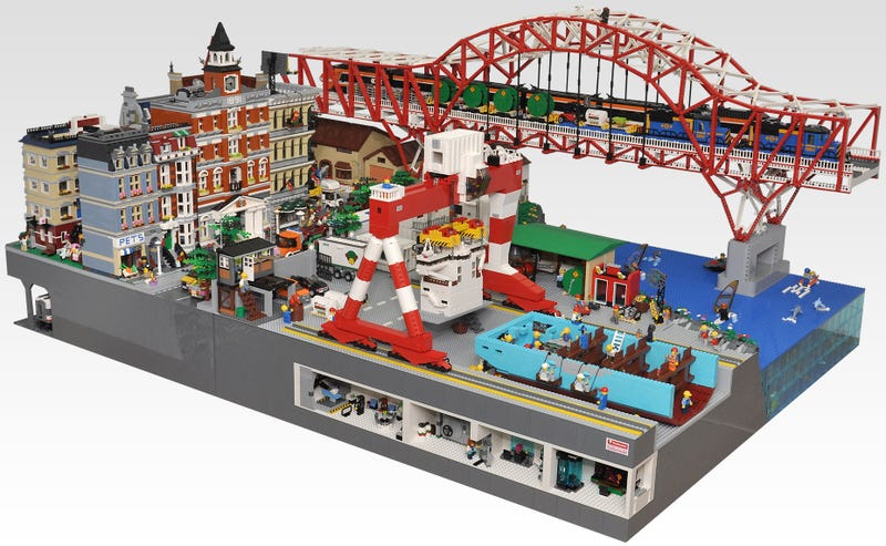 Illustration for article titled This Lego town gives you a nice peek inside