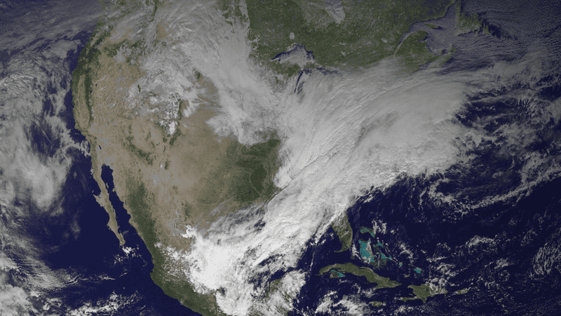 Illustration for article titled The U.S. Northeast's gigantic snow storm as seen from space
