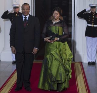 King Mswati III of Swaziland and his wife Inkhosikati La Mbikiza arrive at the White House for a group dinner during the U.S.-Africa Leaders Summit Aug. 5, 2014 in Washington, D.C.Photo by BRENDAN SMIALOWSKI/AFP/Getty Images