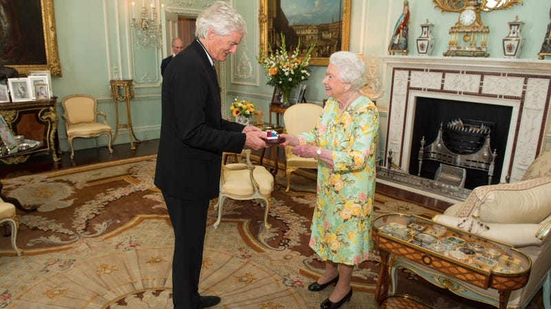 Dyson and Queen Elizabeth II. Dyson owns more land than Queen Elizabeth II, who probably only has like, two or three swimming pools. Photo via Getty.