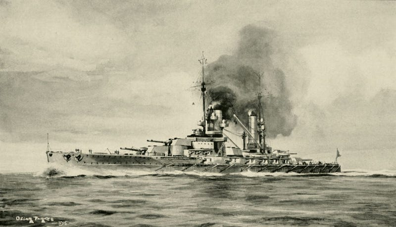 Illustration of SMS Konig during happier, above water days.