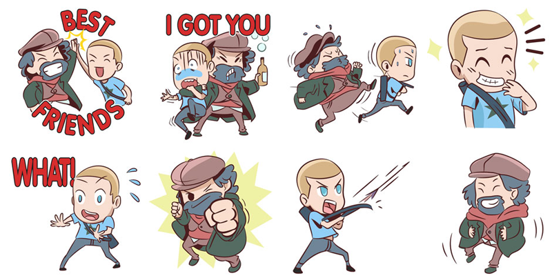 Illustration for article titled Valiant's New Archer & Armstrong Emojis Are Cute as Hell