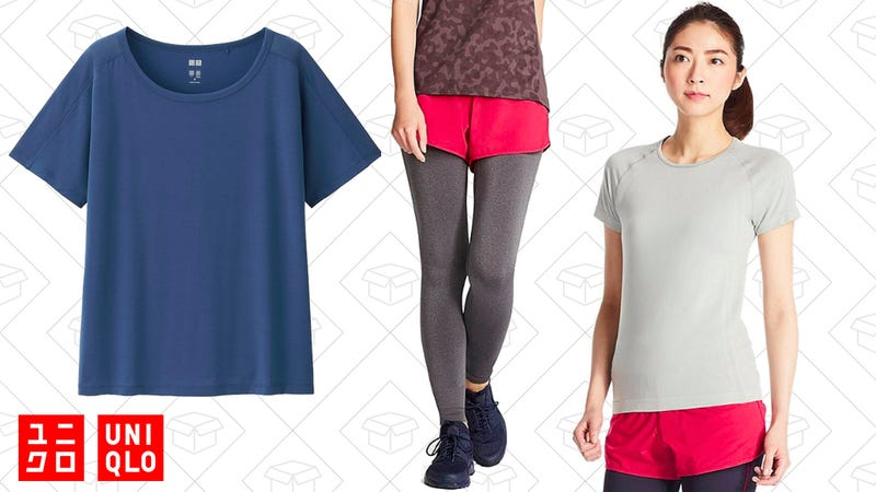 AIRism Crew Neck Short Sleeve T-Shirt, $10 | AIRism Seamless Leggings, $15 | AIRism Seamless Short Sleeve T-Shirt, $15