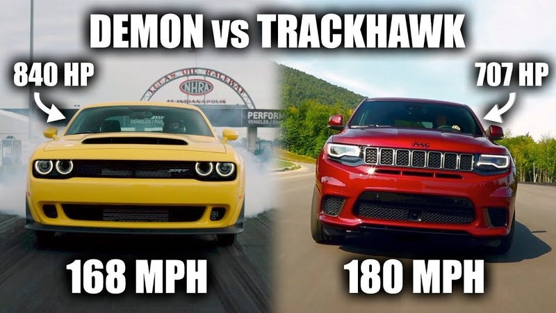 Illustration for article titled Here Is Why The Jeep Grand Cherokee Trackhawk Is Actually Faster Than The Dodge Demon