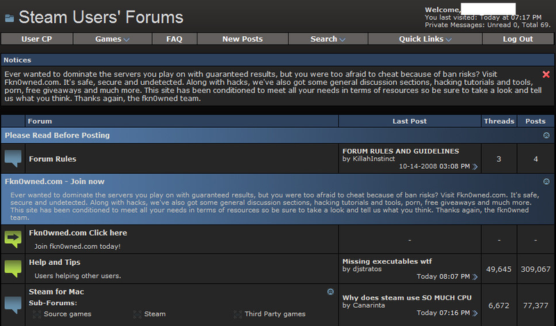 Illustration for article titled Steam Forums Apparently Hacked