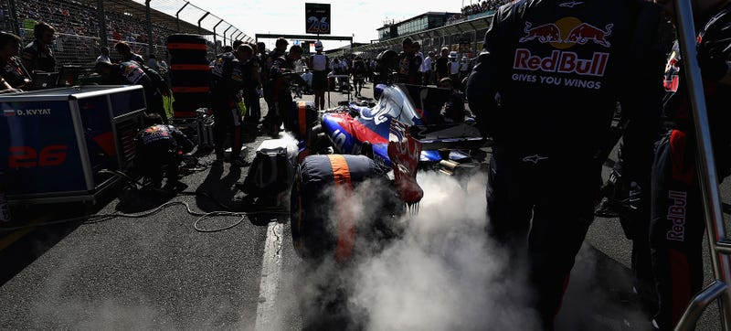 Toro Rosso's Daniil Kvyat smokes out the starting grid at F1 Australia this weekend. Photo Credit: Getty Images
