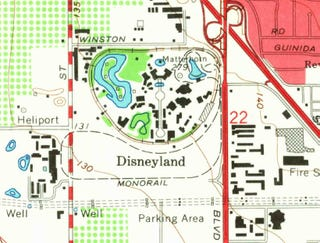 Illustration for article titled This USGS Map Treats Disneyland's Matterhorn as a Real Mountain