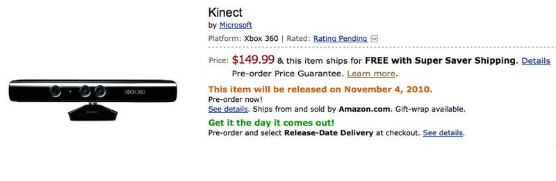 Illustration for article titled Amazon Prices Kinect At $149