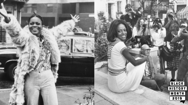 (L-R): Portrait of Academy Award winning American actress Cicely Tyson smiling and raising her arms in the air during a visit to London, February 19, 1973. Singer Diana Ross sitting in front of a bank of press photographers at a press conference to promote her film 'Lady Sings the Blues', in London, September 14, 1973.