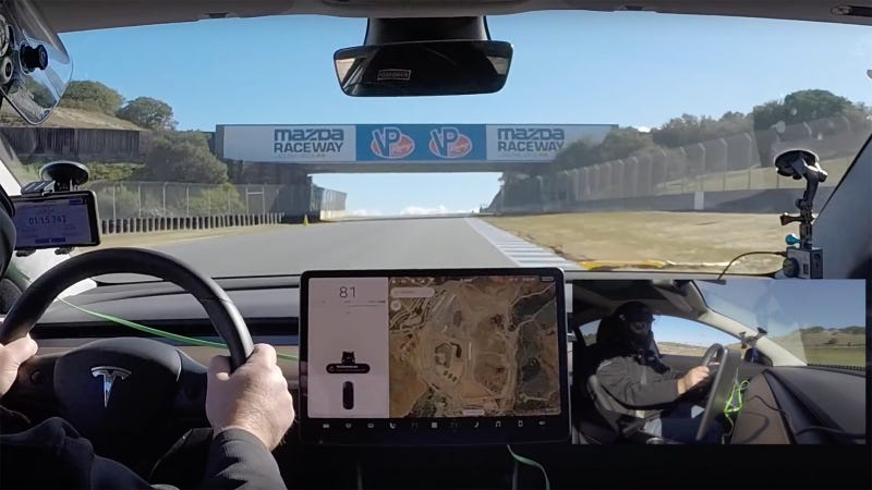 Illustration for article titled Watch A Tesla Model 3 Go Flat Out On Laguna Seca Raceway