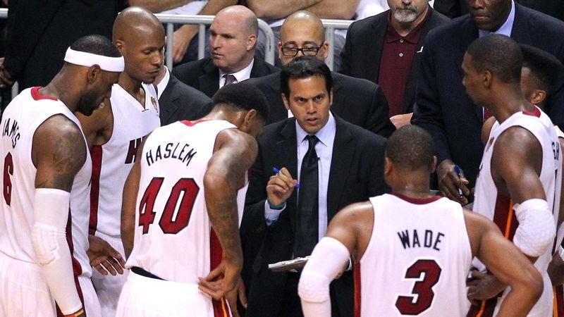 Illustration for article titled Erik Spoelstra Under Impression Big 3 Will Take Pay Cut To Keep Playing Under Him