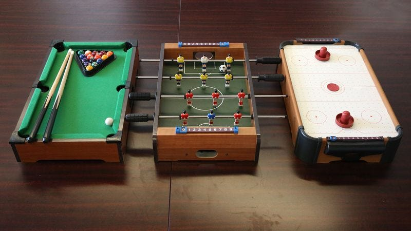 Versatile Game Table Can Be Easily Converted To Play Small, Shitty Version  Of Pool, Air Hockey, Foosball
