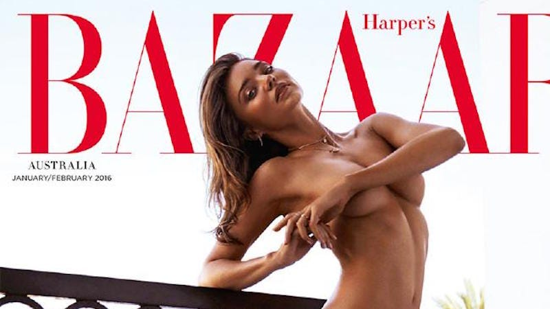 Illustration for article titled Australian Supermarket Chain Pulls Miranda Kerr's Nude Harper's Bazaar Cover