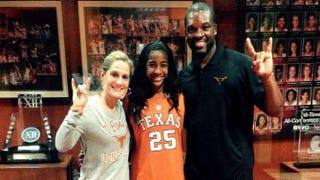 Texas coach Karen Aston, Deja Kelly and associate coach Travis MaysTwitter Screenshot