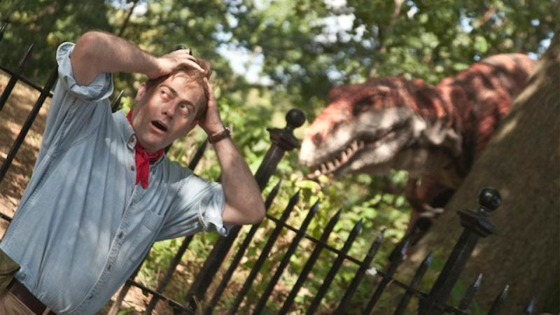 Illustration for article titled Improv Everywhere recreated Jurassic Park in Brooklyn, complete with walking Velociraptor