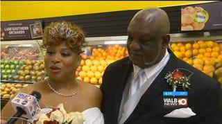 Charles and Mary Tinson wed at Harvey's Supermarket in Albany, Ga., on Nov. 24, 2016.WALB Screenshot
