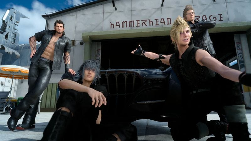 Illustration for article titled What if the dudes of Final Fantasy XV were a traveling boy band?
