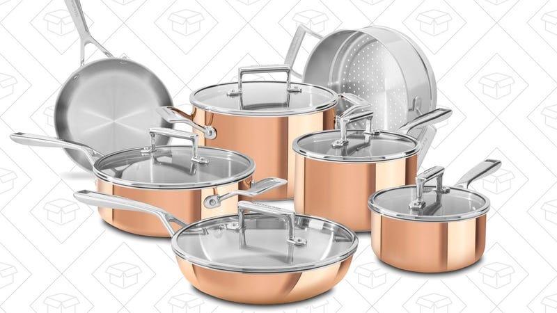 KitchenAid Tri-Ply Copper Cookware Set, $200