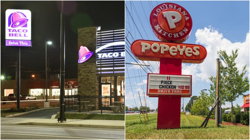 Illustration for article titled Pun-filled sign battle rages between Indiana Taco Bell, Popeyes
