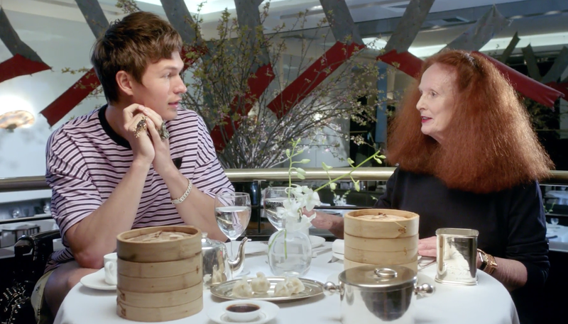 Illustration for article titled Grace Coddington's New Talk Show Debuts With Nostalgic Ansel Elgort Interview