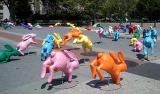 Illustration for article titled Bravia Ad Shoot Overwhelms NYC With Play Doh Bunnies