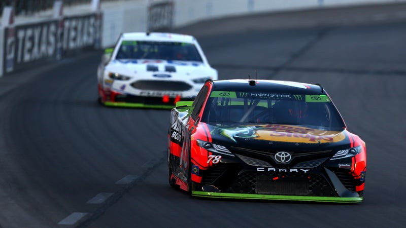 Martin Truex Jr. and Kevin Harvick, two of the four drivers who will compete for the championship at Homestead-Miami Speedway in two weeks. Kyle Busch is the other driver locked into the championship. The last spot will be decided this weekend. Photo credit: Sarah Crabill/Getty Images