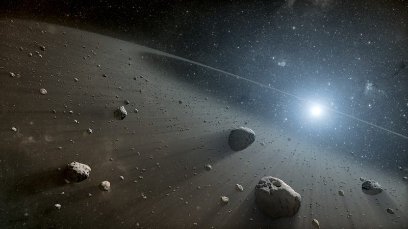Artist's depiction of asteroids in the Main Belt between Mars and Jupiter. (Image: NASA)