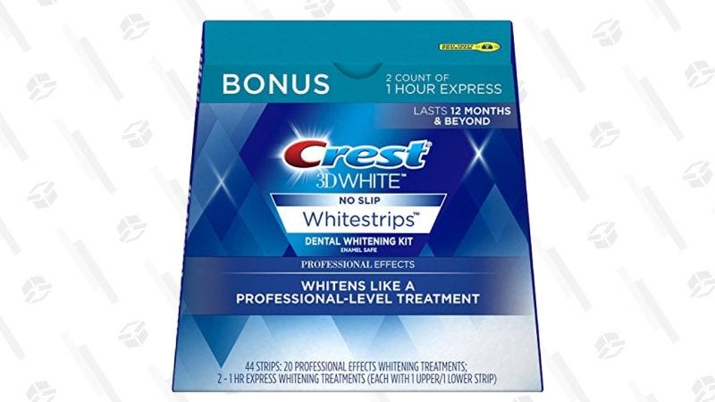 20 Tratamientos de tiras blanqueadoras Crest 3D + Dos tratamientos exprés de 1 hora   $29   Amazon   Usa el código 10CRESTJUNE y el cupón de $5