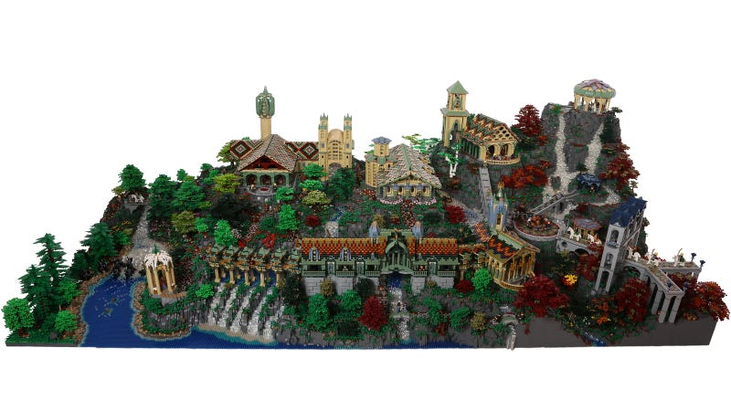 Illustration for article titled This gigantic amazing Lego recreation of Rivendell will blow your mind