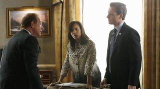 Cyrus Beene (Jeff Perry), Olivia Pope (Kerry Washington) and Fitz Grant (Tony Goldwyn) in ScandalABC