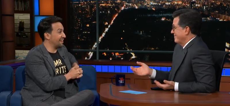 On The Late Show, Lin-Manuel Miranda talks Puerto Rico, his new book, and closing Hamilton's loop