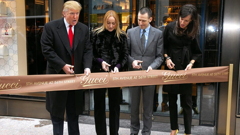 Donald Trump at the Gucci flagship ribbon cutting at Trump Tower on February 8, 2008. Image via Getty.