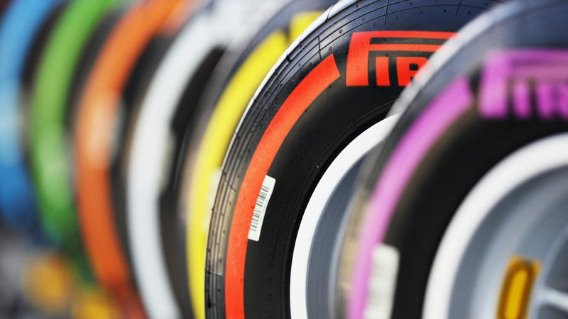 Pirelli tires at the Brazilian Grand Prix in 2016. (Colors and compounds have changed since then.)