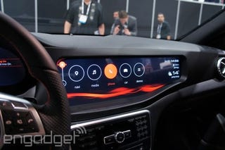 Illustration for article titled QNX Infotainment setup at CES in a CLA45 AMG.