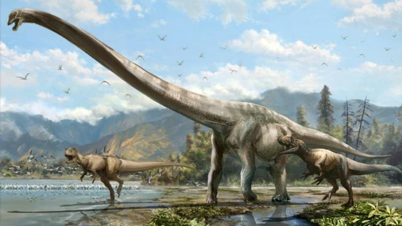 """Illustration for article titled """"Dragon"""" Dinosaur Was 50 Feet Long, Had Most Epic Neck Ever"""
