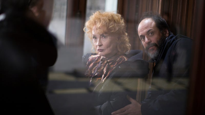 Actress Sandro Kopp and director Luca Guadagnino on the set of Suspiria.