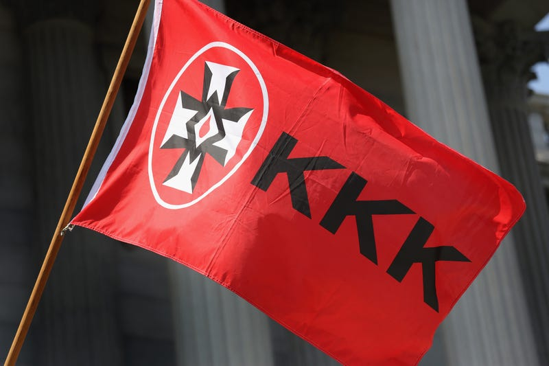 A Ku Klux Klan flag flies during a Klan demonstration at the South Carolina Statehouse on July 18, 2015, in ColumbiaJohn Moore/Getty Images