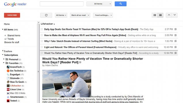 Google Reader Rolls Out a New, Clean, Google Plus-Integrated Interface