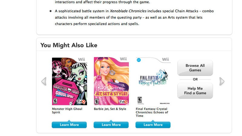 Illustration for article titled Nintendo Thinks Fans of Xenoblade Would also Like These Games