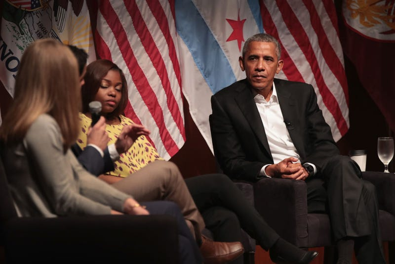 Former President Barack Obama listens as participants speak during a forum at the University of Chicago held to promote community organizing on April 24, 2017, in Chicago. The visit marks Obama's first formal public appearance since leaving office. (Scott Olson/Getty Images)